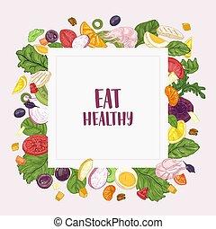 skwer, chorągiew, szablon, z, zjedzcie zdrowy, slogan, i, ułożyć, robiony, od, rąbany, sałata, składniki, -, warzywa, owoce, kurczak, krewetki, eggs., świeży, zdrowy, dietetyczny, jadło., ręka, pociągnięty, wektor, illustration.