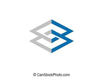 skwer, geometria, połączenie, wektor, logo, zbudowanie