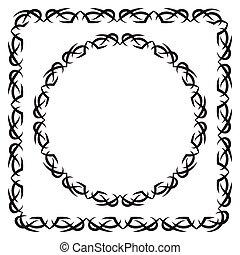 skwer, illustration., set., okrągły, wektor, ozdobny, ułożyć