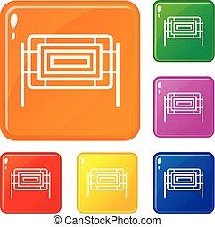 skwer, komplet, płot, ikony, kolor, wektor