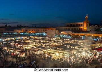 skwer, marrakesh, safian, el-fnaa, miejsce, jemaa, targ