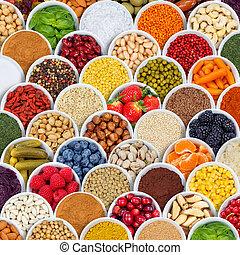 skwer, nad, składniki, warzywa, przyprawy, tło, owoce, jagody