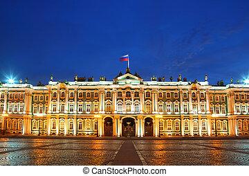skwer, pałac, erem muzeum, evening., saint-petersburg, rosja