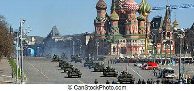 skwer, parada, może, moskwa, powtórka, czerwony, russia., wojskowy, 2013, 07