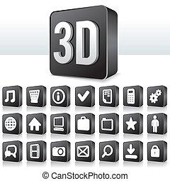 skwer, piktogram, guzik, apps, ikona, technologia, 3d