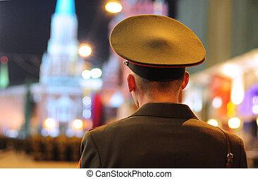 skwer, policja, parada, może, moskwa, -, oficer, powtórka, 5, zwycięstwo, 2011:, rosja, spojrzenia, dzień, czerwony, środek