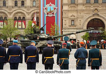 skwer, rosja, 6, moskwa, uczestniczyć, bitwa, wojsko, 6:, -, główny kanał, 2010, czerwony, może, t-90, moskwa, powtórka, wielki, zbiornik, wojna, zwycięstwo, patriotyczny, honor