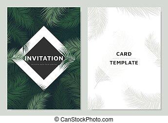 skwer, ułożyć, projektować, zielony, szablon, zaproszenie, dłoń, biały, brzeg, liście, karta