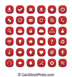 skwer, zaokrąglony, czerwony, ikony