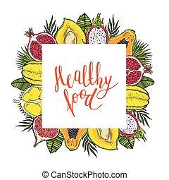 skwer, zdrowy, ułożyć, leaves., jadło., tropikalny, tło., słówko, owoce, biały