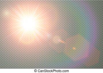sky., élément, étoile, translucide, flamme, rayons, lumière soleil, résumé, lumière, flash, chaud, vecteur, design., isolé, lentille, transparent, éclater, décor, soleil, spécial, effect., spotlight.