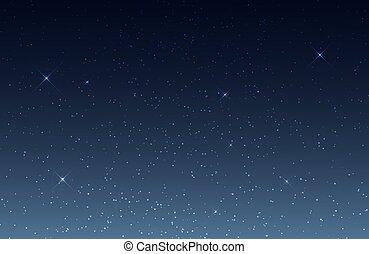 sky., étoilé, ciel nuit, stars., vecteur, fond, univers, briller, cosmos