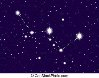 sky., étoilé, illustration, cassiopeia, vecteur, nuit, constellation.