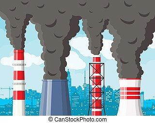 sky., ברור, מפעל, נגד, מקטרת, כיטיסכאף, לעשן