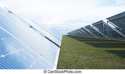 sky., イラスト, 青, 細胞, 太陽, 光起電, 反射, 生態学的, panels., 選択肢, 回復可能, ...