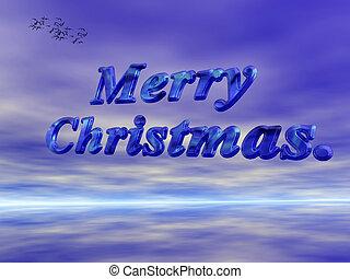 sky., クリスマス, 青, に対して, 陽気