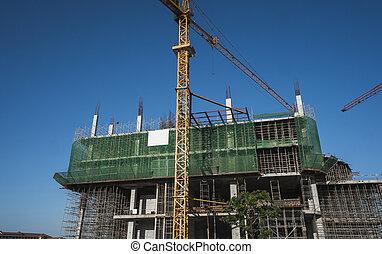 sky., サイト, 金属タワー, 未完成, 建物, 貯蔵, 青, construction., クレーン, 使用, 建設, multi, に対して, 建物。