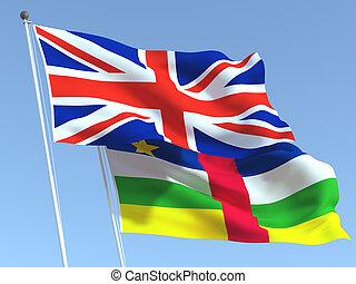 sky., 共和国, business., 青, ニュース, 中央である, 旗, イラスト, アフリカ, 3d, reportage, イギリス