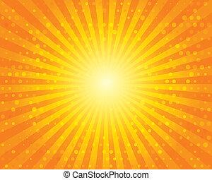 sky., 太陽, circles., パターン, オレンジ, sunburst