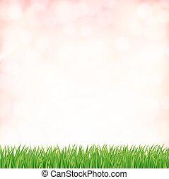 sky., 春天, 矢量, 绿色的背景, 草
