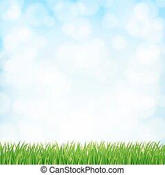 sky., 矢量, 春天, 背景, 草, 绿色