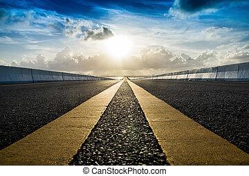 sky., 線, 黃色, 運動, 交通, 路, 空