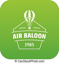 Sky air balloon icon green vector