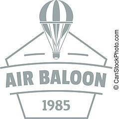 Sky air balloon logo, simple gray style