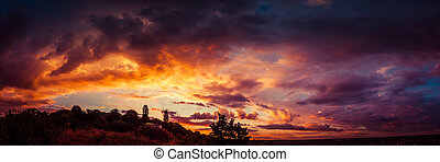 Sky and bright, beautiful clouds in the sunset