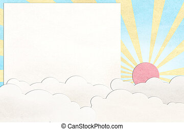 sky and cloud recycled paper craft background