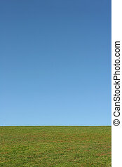 Sky and Earth - Landscape of grass against a clear blue sky.