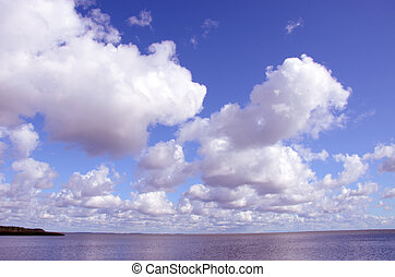 Sky and lake background. Natural romantic view of lake and sky.