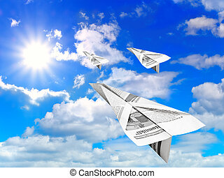 sky and paper aeroplanes