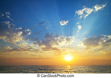 Sky and sea on sunset.
