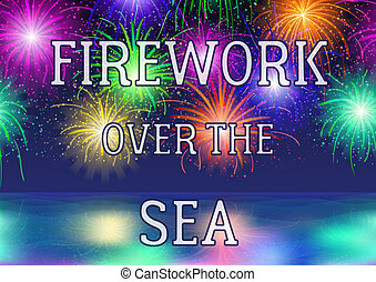 Sky and Sea with Fireworks, Seamless