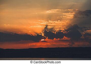 Sky at sunrise on the sea
