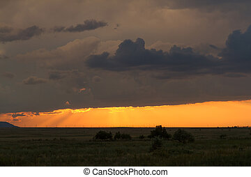 sky at sunset with storm clouds