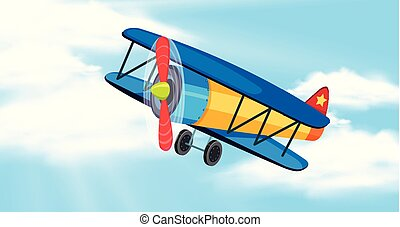 Sky background with airplane flying