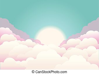 sky background with clouds and sun. Vector nature background