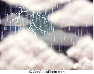 Sky background with lightning and rain