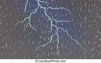 Sky background with rain and thunder