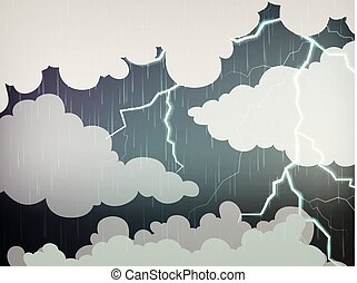 Sky background with rain and thunders