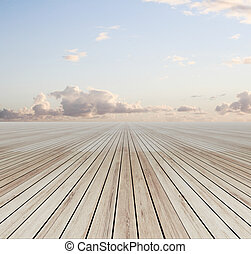sky background - wooden floor and blue sky