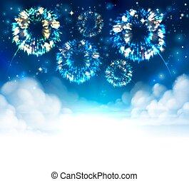 sky, bakgrund, fireworks
