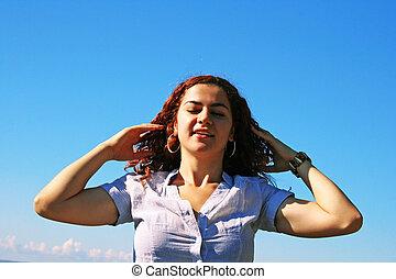 sky, bakgrund, kvinnor