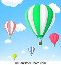 sky., balloon, lucht, warme, vector., liggen