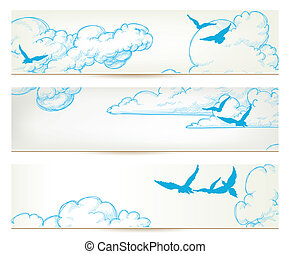 Sky banners, clouds and blue birds vector backgrounds
