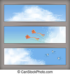 Sky banners: white clouds, flying kites, swallows