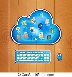 sky, begreb, løsning, firma, computing
