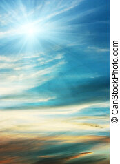 Sky blue background and sun